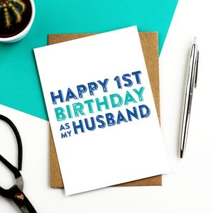 Happy 1st Birthday As My Husband Greetings Card - funny cards