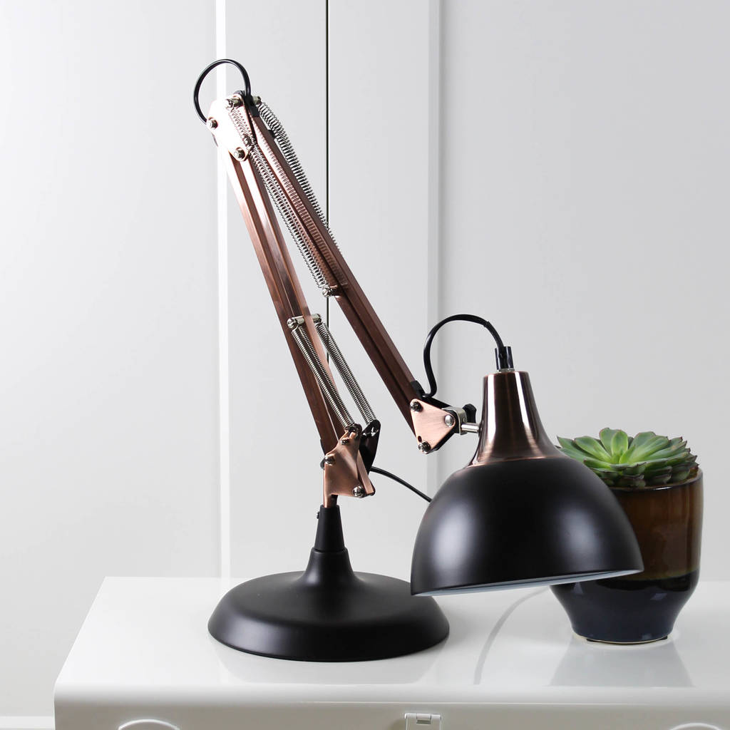 copper and black angled desk lamp by marquis dawe rh notonthehighstreet com