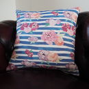 Floral Stripe Square Cushion