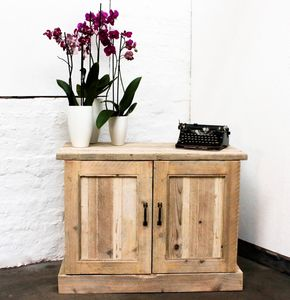 Boadi White Washed Reclaimed Scaffolding Board Cupboard - bedside tables