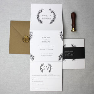 Monochrome Wreath Wedding Invitation Suite - invitations