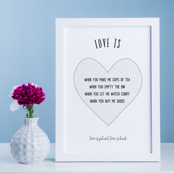 Love Is Patient Love Is Kind, Personalised Print