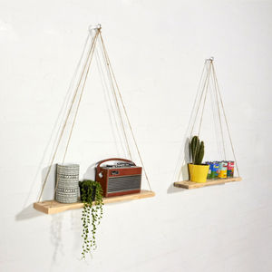 Hanging Reclaimed Pallet Wooden Triangle Shelves - office & study