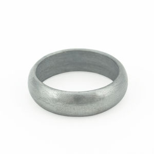 Black Silver Ring Rounded Exterior - rings