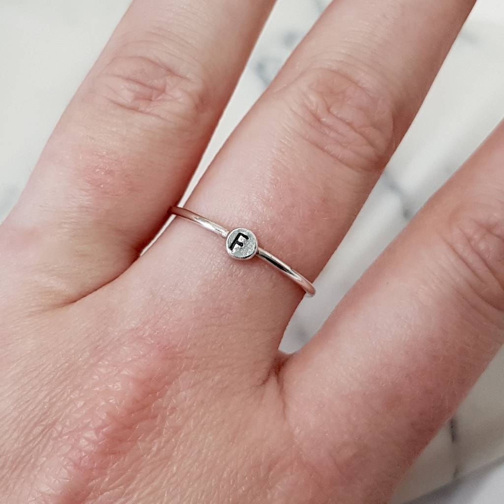 personalised letter silver ring by anna calvert jewellery ...