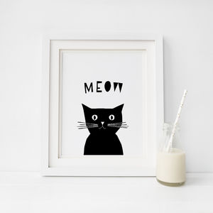 Peekaboo Cat, Cats Say Meow Print - animals & wildlife