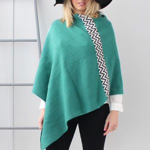 Jade Green Knitted Lambswool Poncho - for keeping cosy
