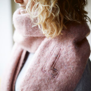 Personalised Embroidered Speckled Blanket Scarf - gifts for her