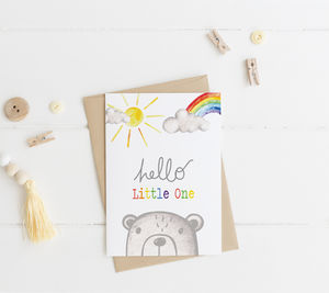 Hello New Baby Bear Card - new baby cards