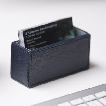 Personalised Leather Business Card Holder Ink Blue