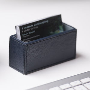 Leather Business Card Holder Ink Blue