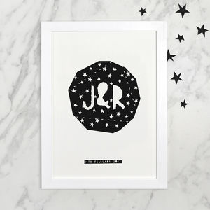 Personalised Monochrome Space Constellation Star Print - modern & abstract