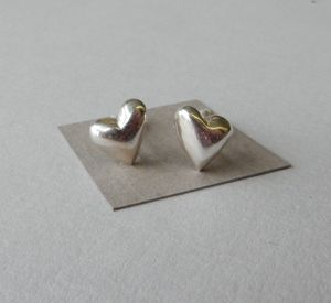Silver Puffed Heart Studs By Anne Reeves Jewellery Notonthehighstreet