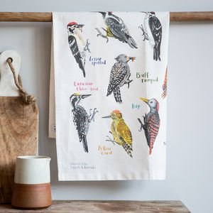 'Peckers' Illustrated Bird Tea Towel