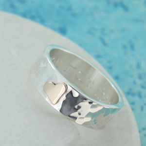 Personalised Wide Beaten Silver Heart Ring - rings