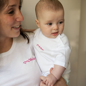 Mother And Baby Personalised Heart T Shirt Set