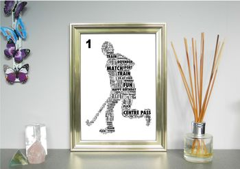 Hockey Player Personalised Sports Word Art Print