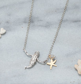 Silver Mermaid And Starfish Necklace