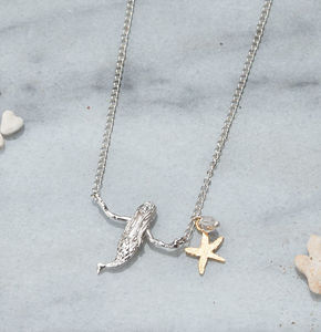 Silver Mermaid And Starfish Necklace - necklaces & pendants