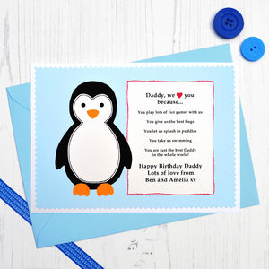 'Penguin Love You Because' Personalised Birthday Card - birthday cards