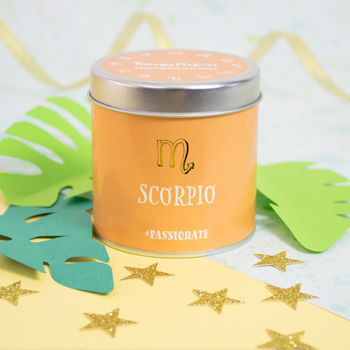 'Scorpio' Sandalwood And Vanilla Scented Tin Candle