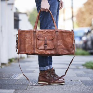 Leather Duffel Travel Bag - 50th birthday gifts