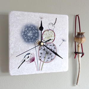 Dandelion And Birds Marble Clock - mixed media & collage