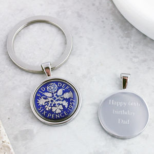 Sixpence 1957 60th Enamel Coin Keyring