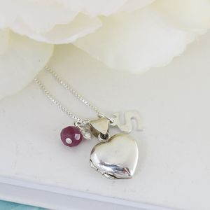 Personalised Silver Heart Locket With Birthstones - children's accessories