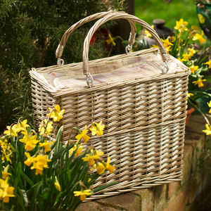 Personalised Lavender Tartan Rectangular Chiller Basket - picnic hampers & baskets