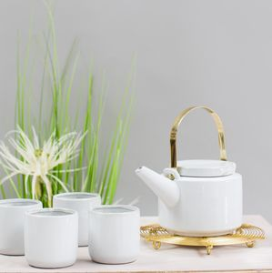 Gold Handled Tea Pot And Cup Set - dining room