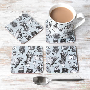 'Love Scotland' Scottish Coasters And Mug Set - tableware