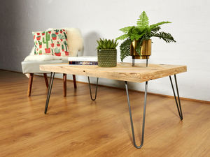 Reclaimed Chevron Pallet Coffee Table Hairpin Legs - furniture