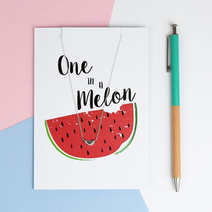 'One In A Melon' Greeting Card And Necklace Set - summer sale