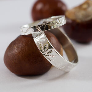 Botanical Wedding Bands In 9ct White Recycled Gold