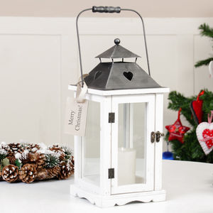 White French Country Heart Wooden Lantern - christmas lighting