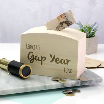 Personalised Gap Year Fund Money Box