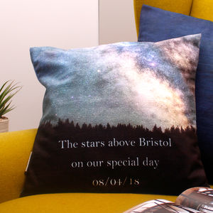 Romantic Gift Cushion With Personalised Constellation - bedroom