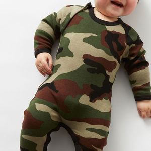 Army Camo Baby Grow With Bib - babygrows