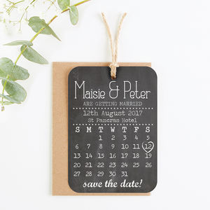 Save The Date Cards Chalkboard Calendar - wedding stationery
