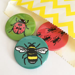 Creepy Crawly Bug Badge Set - pins & brooches