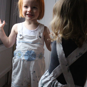 Baby Short Antique Linen Dungarees - clothing