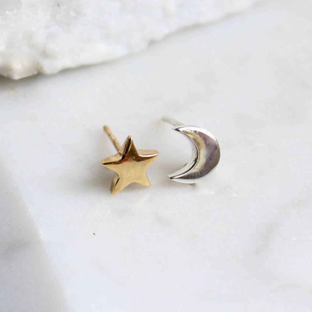 c710daa0d moon and star studs in silver and gold vermeil by lime tree design |  notonthehighstreet.com