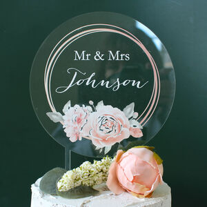 Personalised Wedding Cake Topper Clear Acrylic