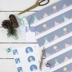 Majestic Mountain Scandi Wrapping Paper Set - cards & wrap