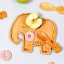 Personalised Elephant Bamboo Plate And Cutlery Set