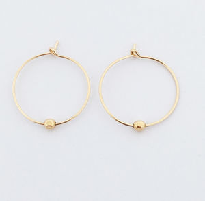 Gold Bead Hoop Earrings - earrings