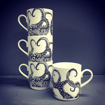 Tentacle Bone China Stacking Mug Set