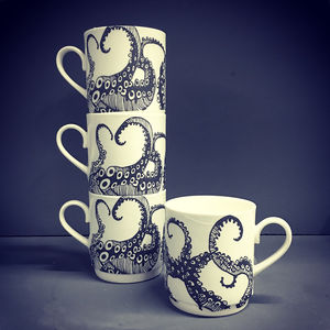 Tentacle Bone China Stacking Mug Set - kitchen