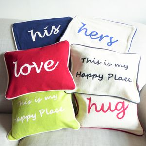 Embroidered Slogan Cushions - embroidered & beaded cushions